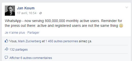 """مؤسس تطبيق واتساب """"جان كوم Jan koum"""" يكشف عن عدد المستخدمين بالتطبيق"""