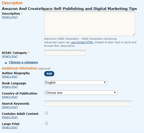 Screenshot: Your book description