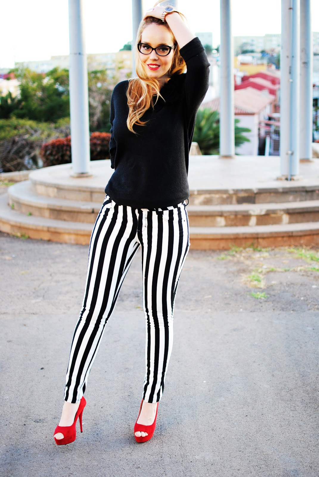 nery hdez, monochrome, nowistyle style, stripes pants, glasses
