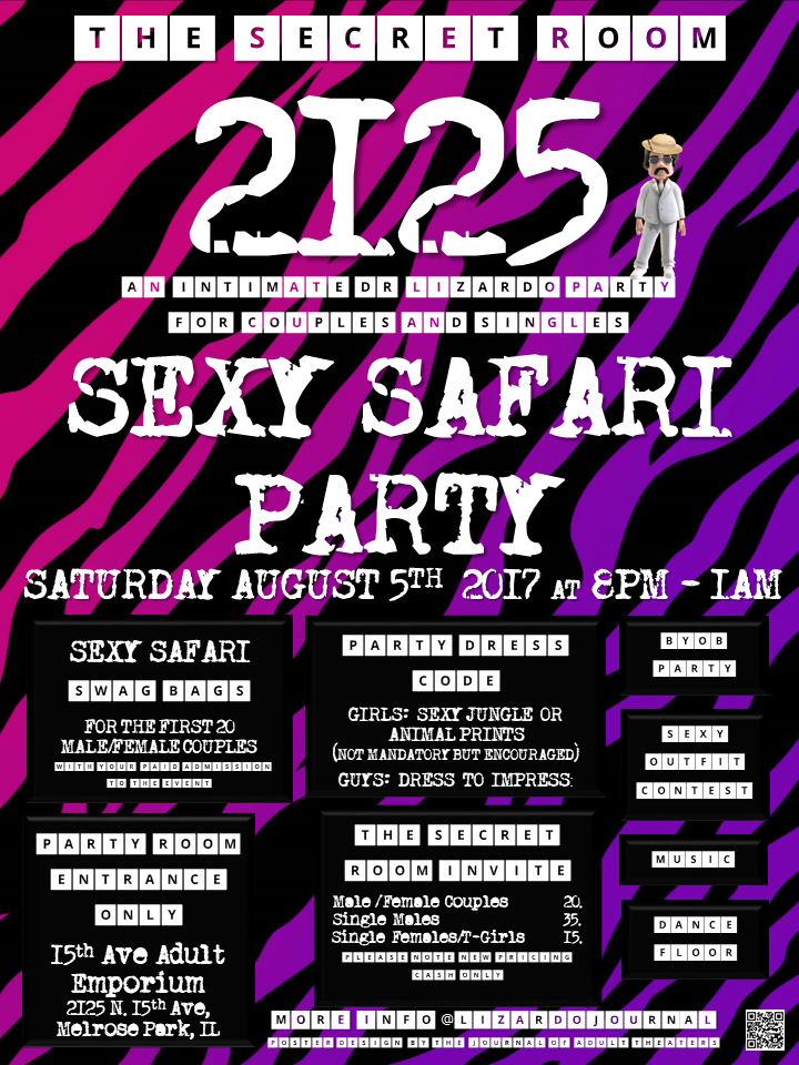 The Secret Room 2125:Sexy Safari Party at 15th Ave. Adult Theater Party Room in Chicago!