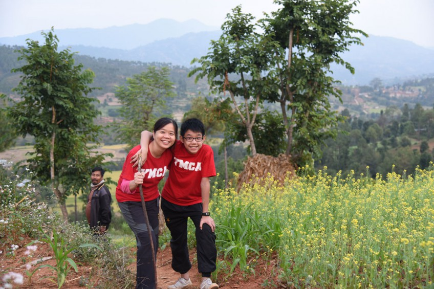 Product marketing manager Ms Sharon Soh, 44, and her son Gerald Tan, 13. They travelled with 17 other volunteers in October 2015, under the YMCA of Singapore's Rebuilding Communities Programme to help rebuild home and distribute food in post-earthquake Nepal.