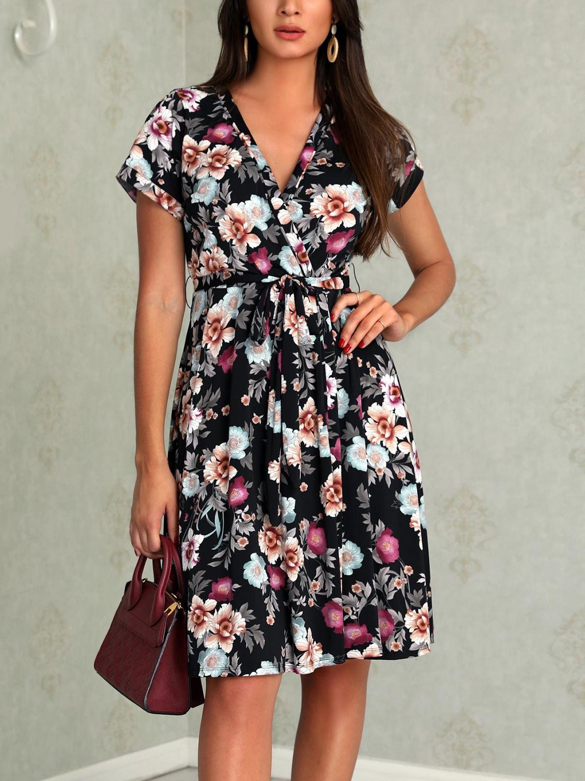 Floral Print Wrap Belt Casual Dress