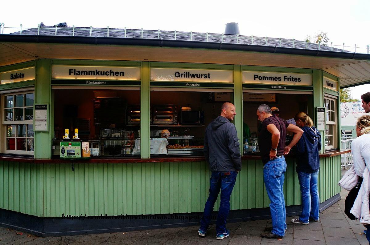 Food kiosk at Hafen Terrasse, Cologne, Germany