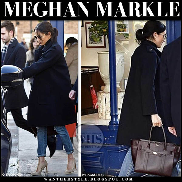 Meghan Markle in navy coat, distressed jeans and biege suede stuart weitzman pumps royal family duchess sussex street style january 18