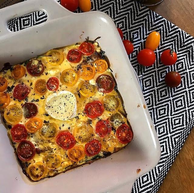 Clafoutis healthy aux légumes lard fumé et feta Charlotte and cooking