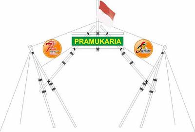 Gapura Tenda dengan 15 Tongkat Pramuka