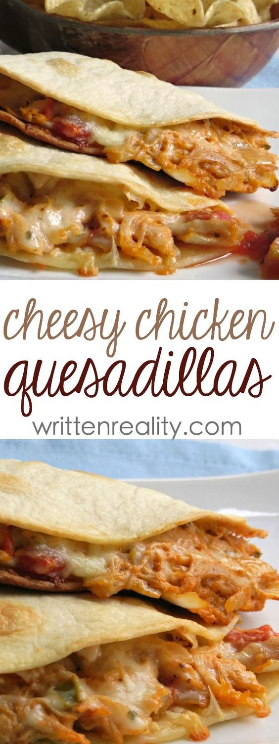 THESE CHEESY CHICKEN QUESADILLAS ARE OUT OF THIS WORLD DELICIOUS! #cheesy #chicken #cheesychicken #chickenrecipes #quesadillas #easyrecipes #easychickenrecipes #easyquesadillasrecipes