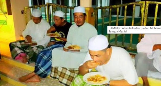 Yang di-Pertuan Agong Sahur Bersama Rakyat Di atas Tangga Masjid .. Sehingga Imam Sebelah…