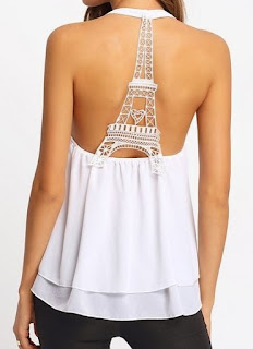 Lace Patchwork Stylish Round Neck Sleeveless T-Shirts