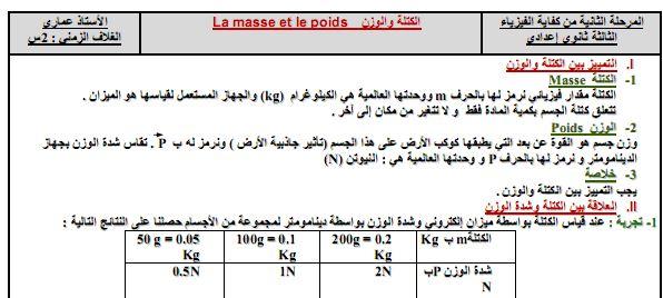 الثالثة إعدادي : درس مميز الكتلة و الوزن Masse et poids d'un corps – 3ème – Cours – Physique – Chimie
