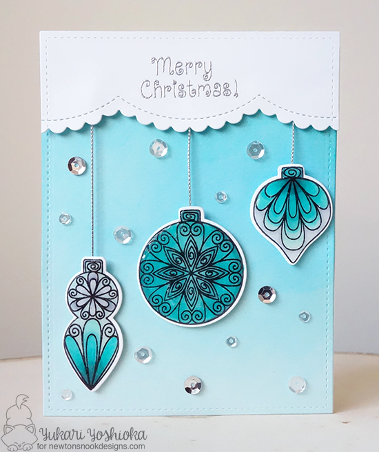 Christmas Ornament card by Kimberly Rendino | Beautiful Baubles Stamp Set by Newton's Nook Designs #newtonsnook