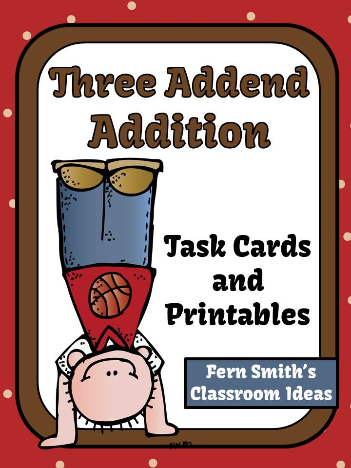 http://www.teacherspayteachers.com/Product/Three-Addend-Addition-Task-Cards-and-Printables-1150526