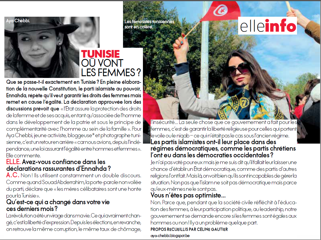 interview by fashion magazines proudly tunisian it is a women magazine but mainly featuring pop culture life love hair beauty accessories shops etc the interview was