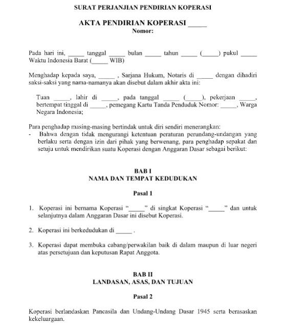 Contoh Surat Perjanjian Pendirian Koperasi yang Baik dan Benar Format Word  Doc