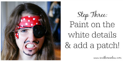 Pirate Face Paint Step Three - Add an Eye Patch and Paint on the Spots