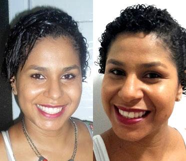 cabelos cacheados curtos antes e depois