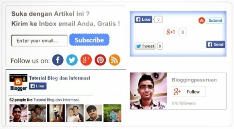 "Cara Membuat Widget Social Media "" All in One  "" di bawah Postingan Blog"
