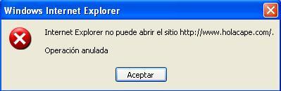Internet explorer no puede abrir el sitio