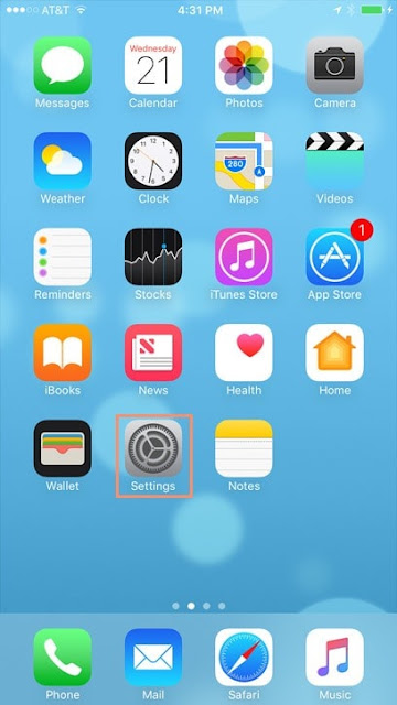 Settings icon on home screen of iPhone