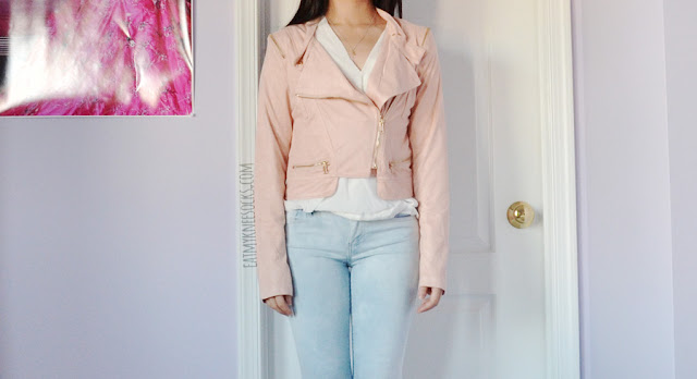 Pastel pale pink faux suede zippered moto jacket from Romwe