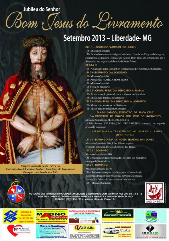 Jubileu do Senhor Bom Jesus do Livramento, festa de setembro, liberdade mg, 2013