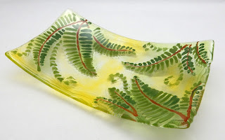Fused glass fern platter, Dana Worley