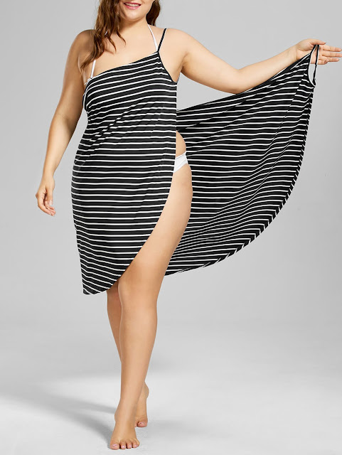 Beach Cover Up Plus Size Stripe Dress