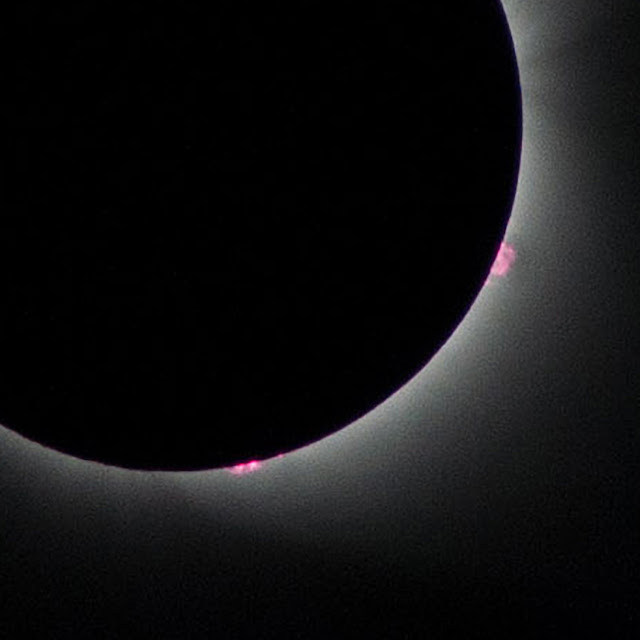 Solar eclipse close up prominences flares