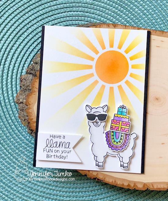 Llama Birthday Card by Jennifer Timko | Loveable Llamas Stamp Set and Sunscape Stencil by Newton's Nook Designs #newtonsnook #handmade #llama