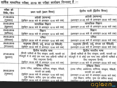 Bihar board exam date 2019 time table of 10th class