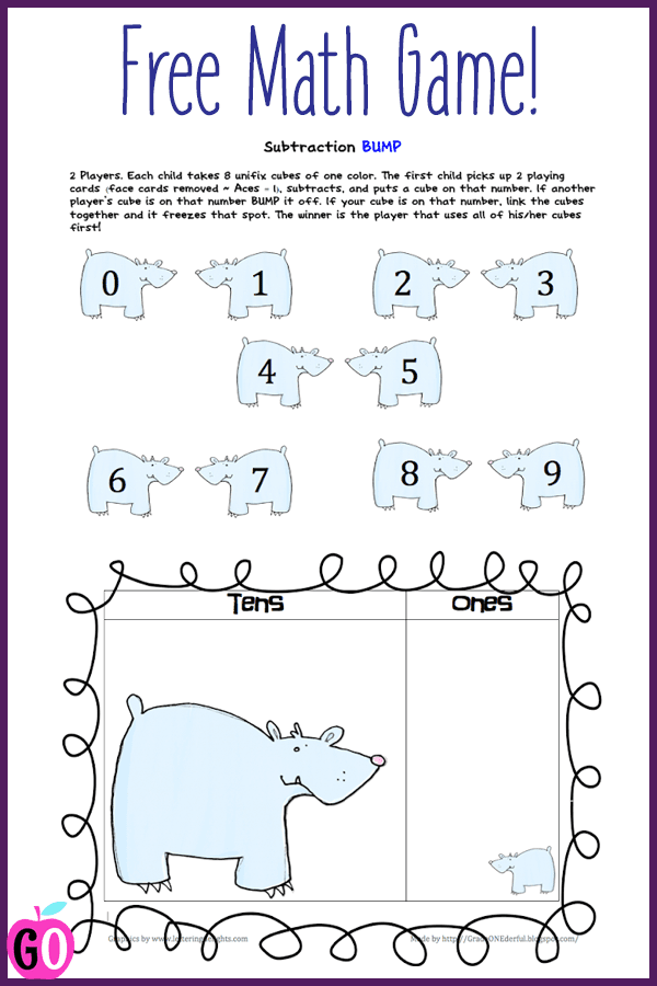 Math Freebies: Subtraction Bump and  Tens & Ones mats.
