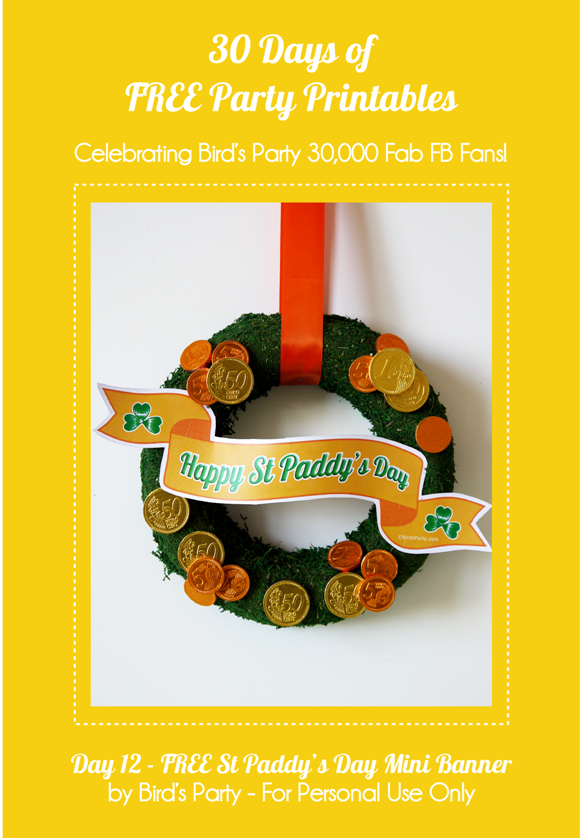 DIY St Patrick's Day Mini Banner & Free Printable - BirdsParty.com