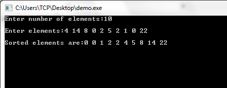 Counting Sort Algorithm, Counting Sort Program in C, Counting Sort Example