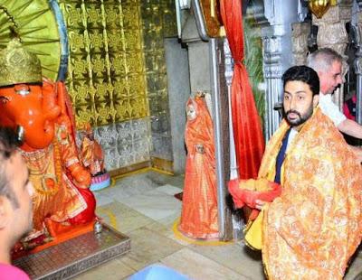 मंदिर पहुंचे अभिषेक बच्च
