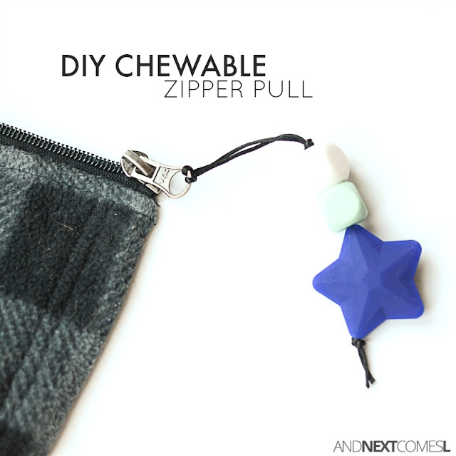 DIY chewable zipper pull tutorial - perfect for older kids who chew on everything from And Next Comes L