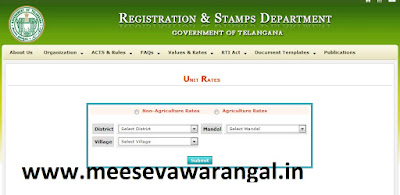 Telangana Registration Stamps Department Govt land Values / Rates Free Download