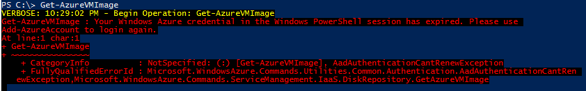 "A snip from a PowerShell window showing ""Your Windows Azure credential in the Windows PowerShell session has expired."""