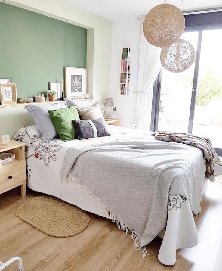 decoración dormitorio tonos verdes