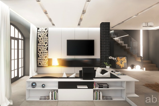 black and white furniture living room luxury modern design ideas with bookcase lcd tv unique. Black Bedroom Furniture Sets. Home Design Ideas