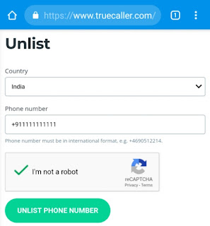 Unlist mobile number from Truecaller