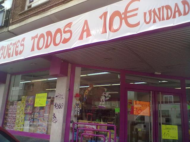 Juguetes a 10 euros en la Calle Alcalá. (Pueblo Nuevo)
