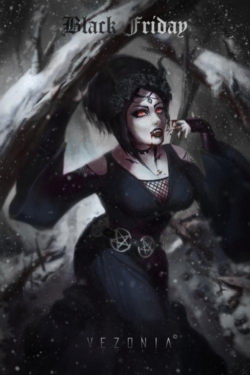 Vezonia Lithium artstation arte ilustrações mulheres fantasia sombrias góticas