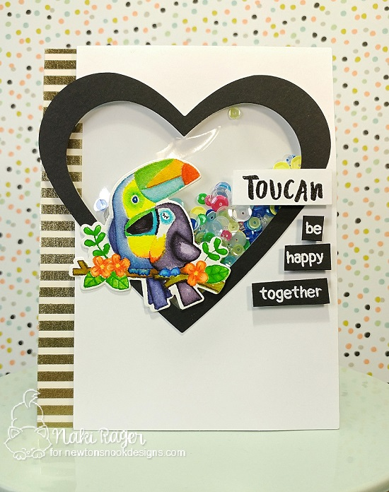Toucan Shaker Card by Naki Rager  | Toucan Party Stamp Set and Die Set by Newton's Nook Designs #newtonsnook #handmade