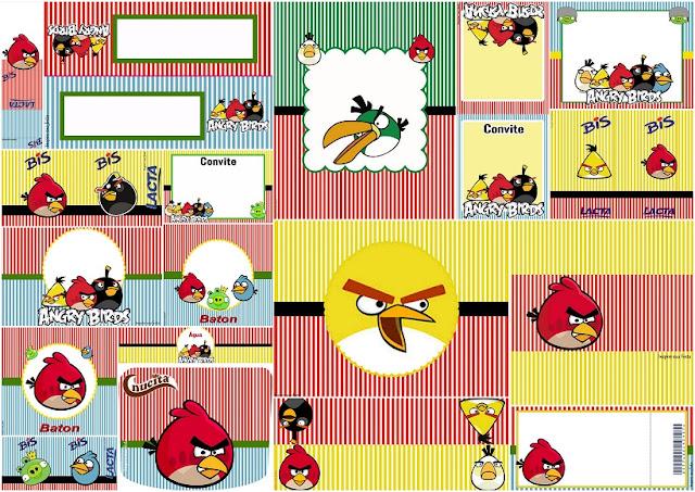 Angry Birds: Invitaciones y Etiquetas para Candy Buffet para Imprimir Gratis.