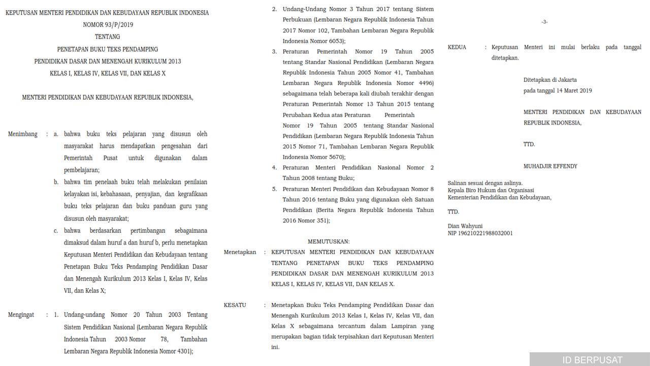 Penetapan Buku Teks Pendamping SD/SMP/SMA Kurikulum 2013
