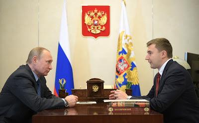 Vladimir Putin at a meeting with chess player Sergei Karyakin.