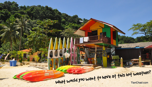 Colourful beach house at Pulau Kapas