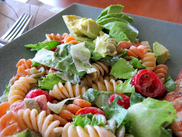 A plate of fresh, delicious BLT Pasta Salad, from RecipesForRealPeople.com