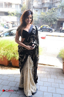 Actress Neetu Chandra Stills in Black Saree at Designer Sandhya Singh's Store Launch  0044.jpg