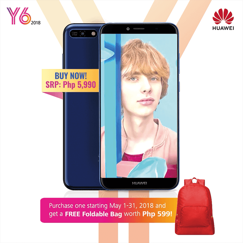 Huawei Y6 2018 will come with a FREE foldable bag for the whole month of May!